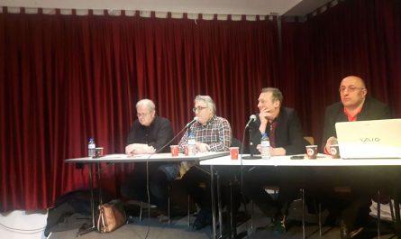 Norbert Weber, Metin Kaya, Martin Dolzer, Mehmet Yildiz (v.l.n.r.) beim Brunch am 12. Januar 2020