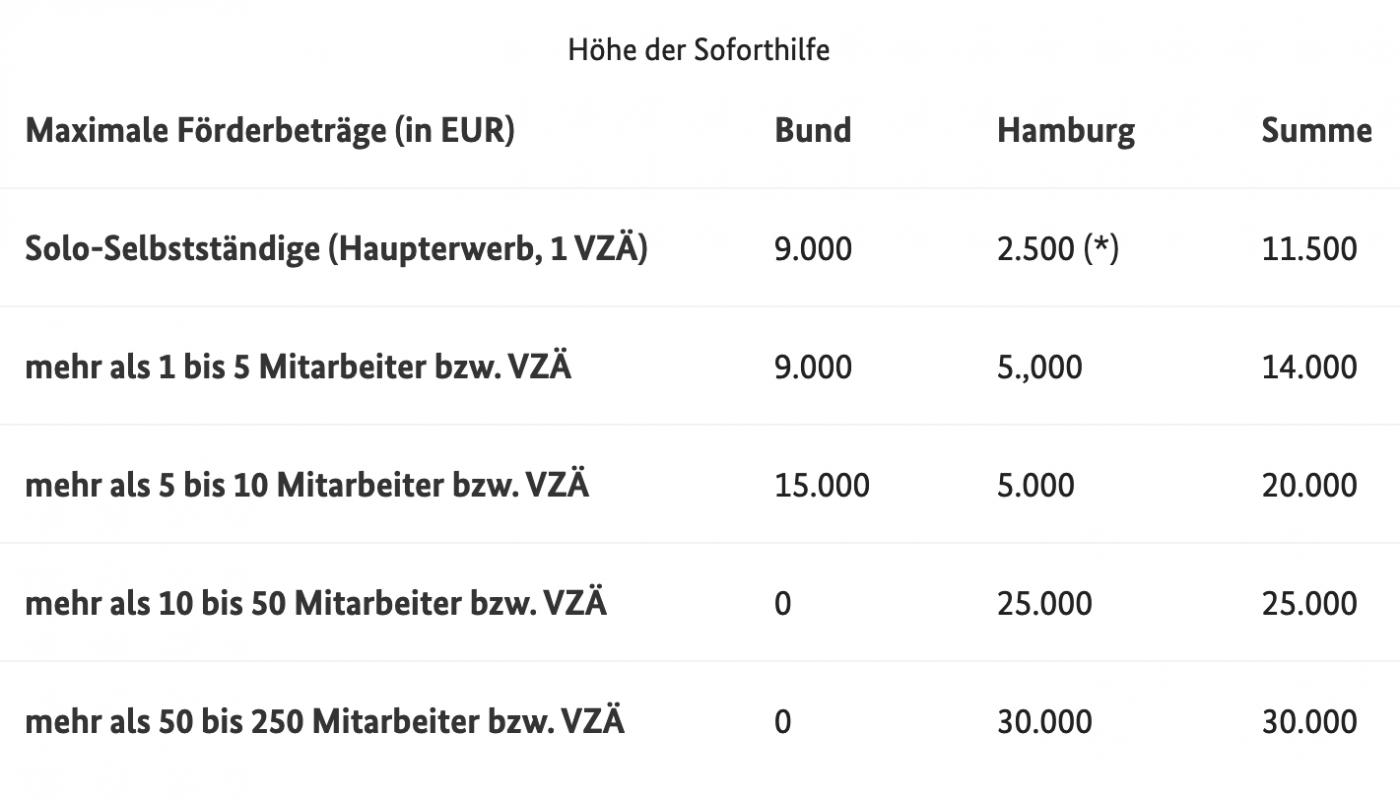 Förderprogramme - Hamburger Corona Soforthilfe (HCS)